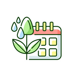 Irrigation scheduling rgb color icon vector
