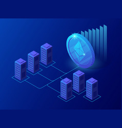Isometric concept of cryptocurrency and blockchain vector