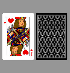 jack of hearts playing card and the backside vector image