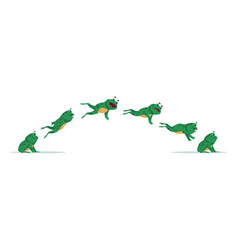 jumping frog cartoon animation sequence with vector image