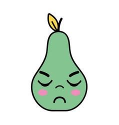 Kawaii cute angry pear fruit vector