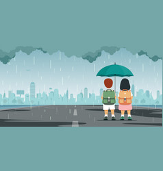 Kid with umbrella vector