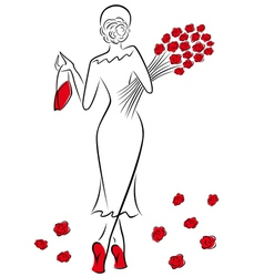 Lady with a bouquet of red roses goes away vector