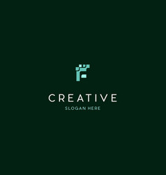 letter f pixel creative logo design vector image