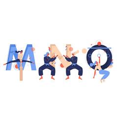letters m for mallakhamb yoga n for ninjutsu vector image