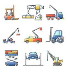 Lifting machine icons set cartoon style vector