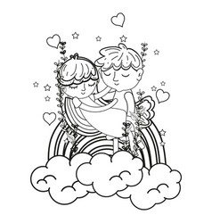 Line boy carrying girl in the clouds with rainbow vector