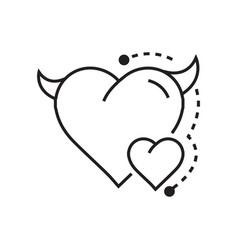 line icon style heart devil color vector image