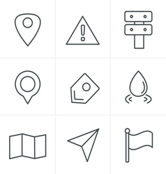 Line Icons Style Map icons on white background GPS vector image
