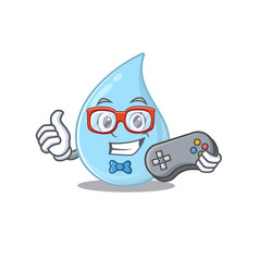 Mascot design raindrop gamer using controller vector