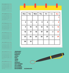 Material and template for calendar year planner vector
