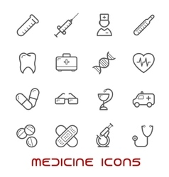 Medicine and health thin line icons set vector image