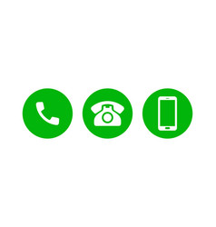 Mobile phone call icons support contact phone vector