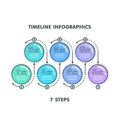 modern 7 steps timeline infographic template vector image