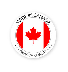 Modern made in canada label canadian sticker vector