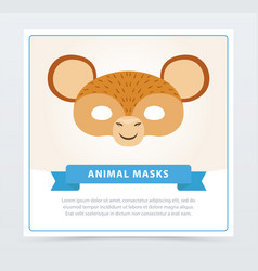 monkey face mask with cute ears jungle animal vector image