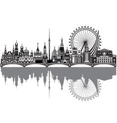 moscow city skyline 3 vector image