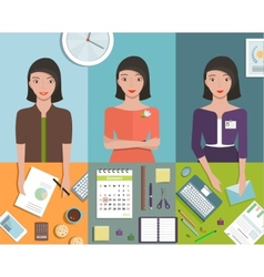 Office Manager Woman Working in Different Poses vector