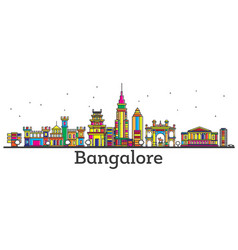 outline bangalore india city skyline with color vector image