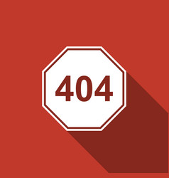 page with a 404 error icon with long shadow vector image