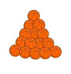 Pile basketball isolated lot of balls for games vector