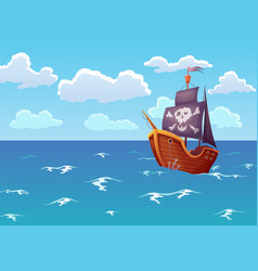 pirate wooden ship in ocean advertising vector image