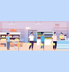 Queue in supermarket cashier grocery store vector