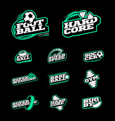 retro style sport logo set soccer baseball rugby vector image