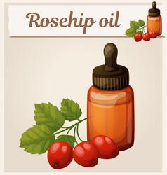 Rosehip oil and berries in bottle vector