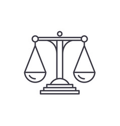 Scales of justice line icon concept scales of vector