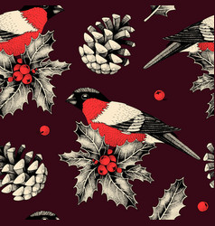seamless pattern with finches and holly vector image
