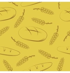 Seamless pattern with spikelets and bread vector image
