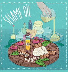 Sesame oil used for soap making vector