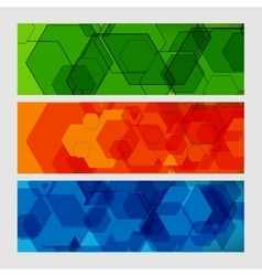 Set abstract modern pattern of hexagons circuits vector image