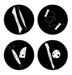 set black circle with silhouette tools vector image