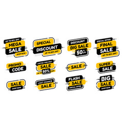 set labels with inscription sale flat ad or vector image