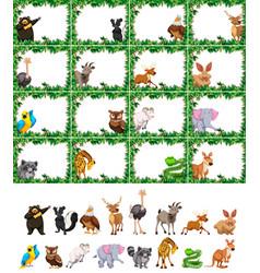 set of animal on nature frame vector image