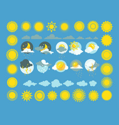 set of weather icons sun cloud rain vector image