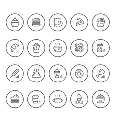 Set round line icons of fast food vector