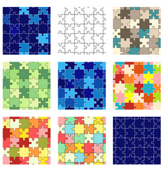 set seamless puzzle patterns vector image