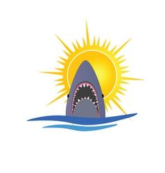 Shark and sun vector