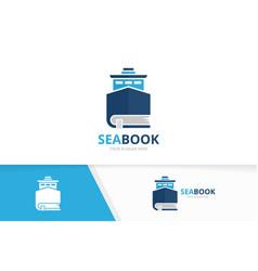 Ship and book logo combination boat vector
