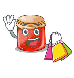 Shopping strawberry marmalade in glass jar of vector