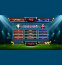 soccer scoreboard football match score and goal vector image