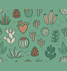Succulent colorful seamless pattern hand drawn vector