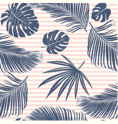 Summer navy pink tropical forest leaves bright vector