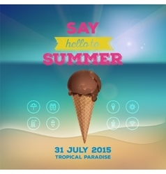 Summer poster with ice cream vector image