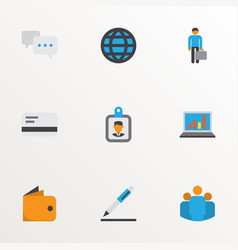 trade icons flat style set with businessman bank vector image