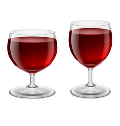 two glasses of red wine on white background vector image