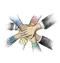 Unity of hands sketch vector